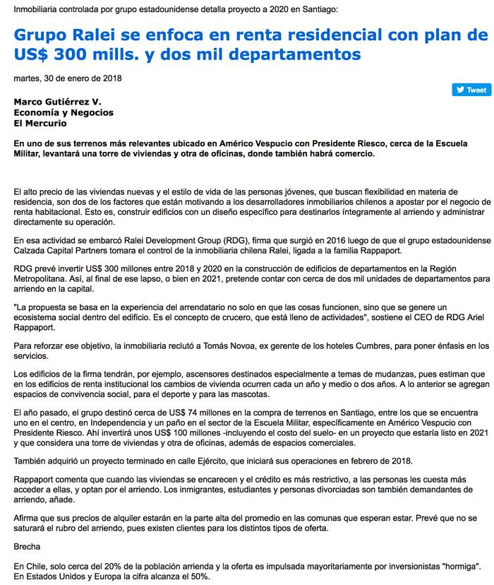 Grupo Ralei se enfoca en renta residencial con plan de US  300 mills. y dos  mil departamentos. 23c4947f8423a